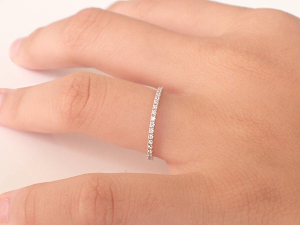 Half Eternity Wedding Band, White Gold Ladies Band, Thin Dainty Stacking, Platinum Micro Pave Eternity