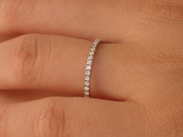 Micro Pave Half Eternity Band, Thin Dainty Stacking Diamond Band, Delicate Pave Ring Gold or Platinum 950