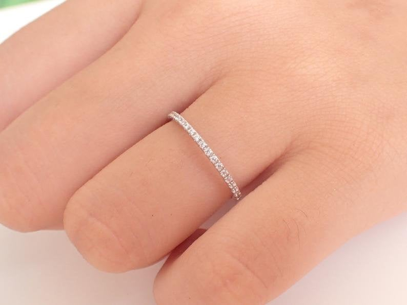 Platinum Diamond Wedding Band Micro Pave Platinum Stacking Rings Engagement Ring High Quality Diamonds Vs F-G 1.3mm 0.11ctw