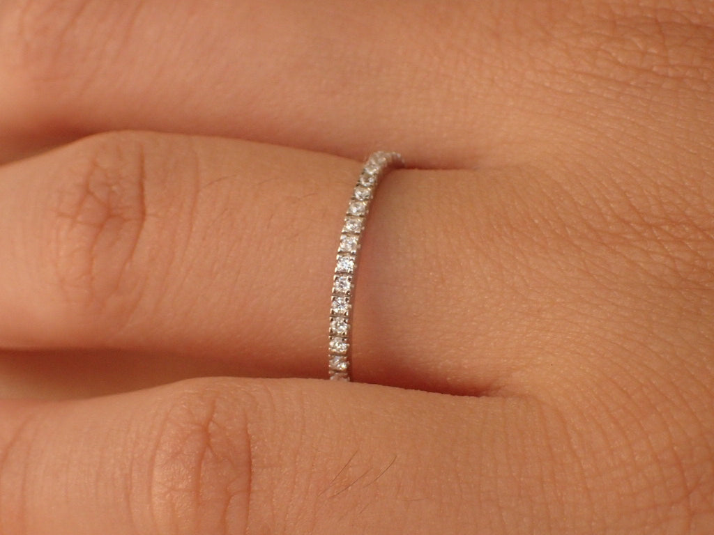 Micro Pave Half Eternity Band, Thin Dainty Stacking Moissanite Band, Delicate Pave Ring Gold or Platinum 950