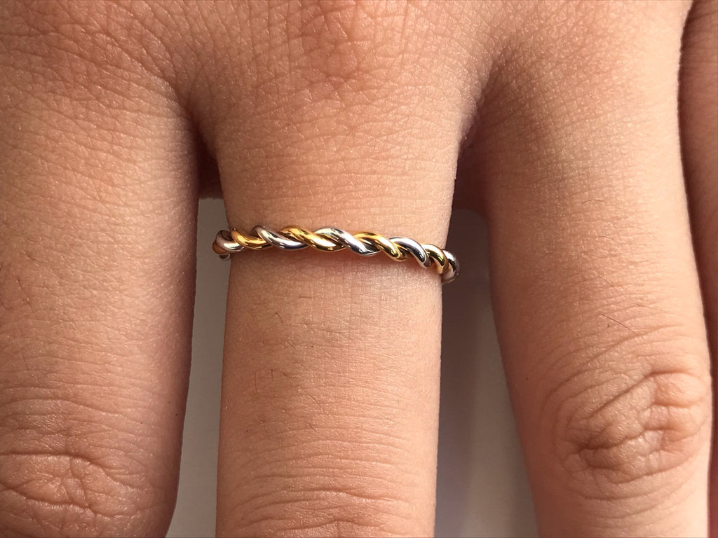 Twisted Rope Two Tone Ring in 14k Solid Gold, Simple Minimalist Ring, Hand Made Ring, Infinity Rope Ring 1.5mm