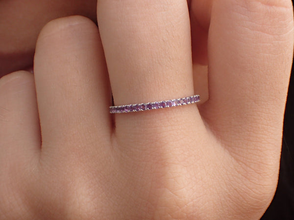 Amethyst Eternity Band, Solid Gold Full Eternity Ring, Thin Dainty Band, February Birthstone Ring, Delicate Amethyst Ring