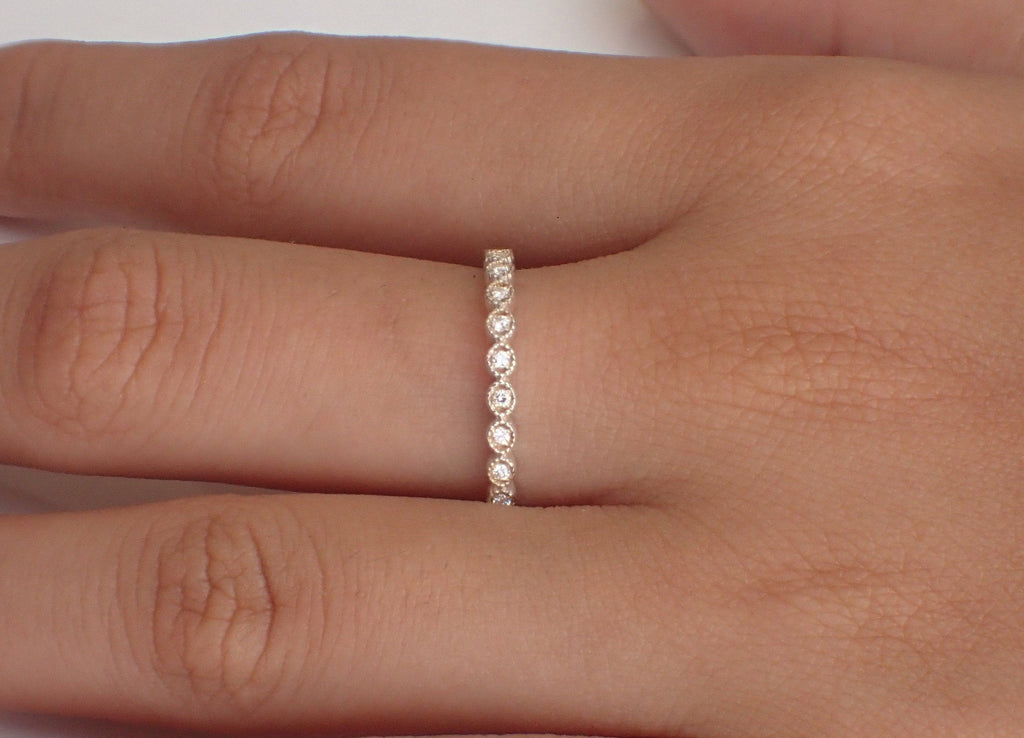 Art Deco Diamond Wedding Band, Solid Gold Full Eternity Band, Thin Dainty Band, Delicate Eye Stacking Band