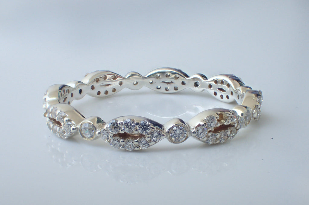 Oval Evil Eye Inspired Moissanite Wedding Band, Solid Gold Full Eternity Ring, Marquise Shaped Evil Eye Moissanite Band