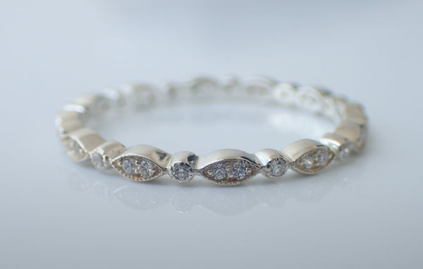 Marquise Shape Diamond Wedding Band, Half Eternity band in Solid Gold, Dainty Stackable Art Deco Band, Platinum 950 Band
