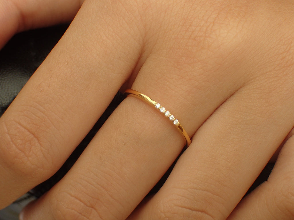 Dainty 5 Diamonds Ring in 14k Solid Gold, Lovely Gift for Her, Delicate Stackable Ring, Thin Diamond Ring