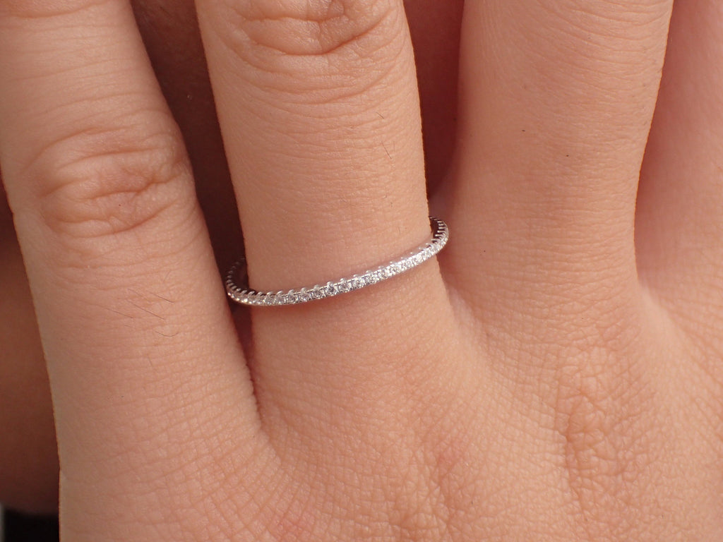 Diamond Eternity Band, 14k Solid Gold Diamond Wedding Band, Full Eternity Micro Pave Band, Dainty Stackable Band 1.5mm