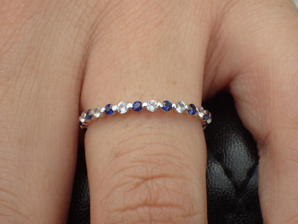 Alternating Diamonds and Blue Sapphires Single Prong Band, 14K White Gold Full Eternity Band, Ready to Ship - Fast Shipping