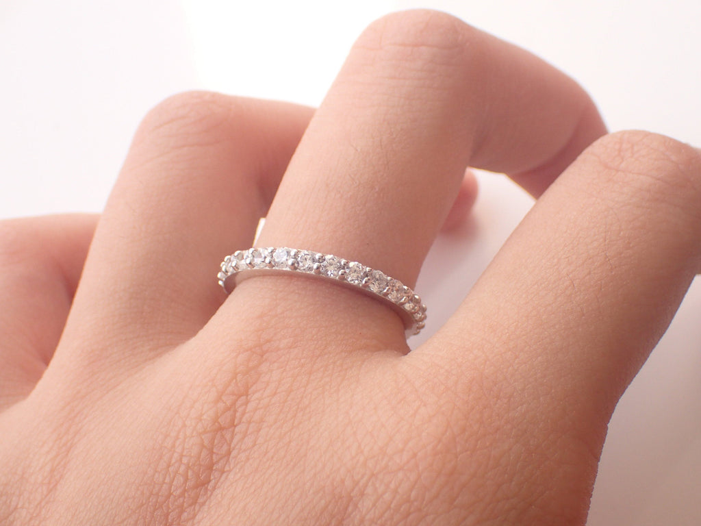 2.0mm Diamond Wedding Band, 18k Solid Gold Half Eternity Band, Delicate Stacking Band, High Quality Diamond Band