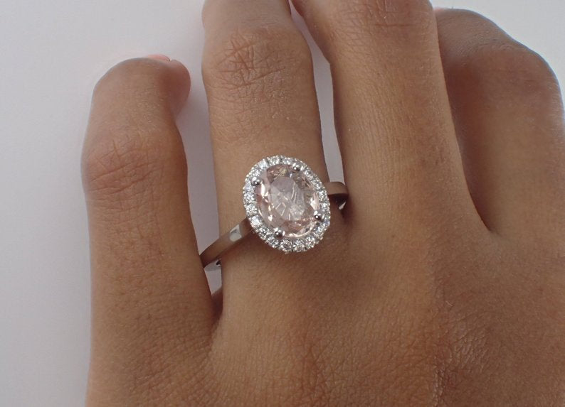 9x7mm Oval Morganite Engagement Ring, Diamond Halo Solitaire Engagement Ring, 14k Solid Gold Anniversary Ring