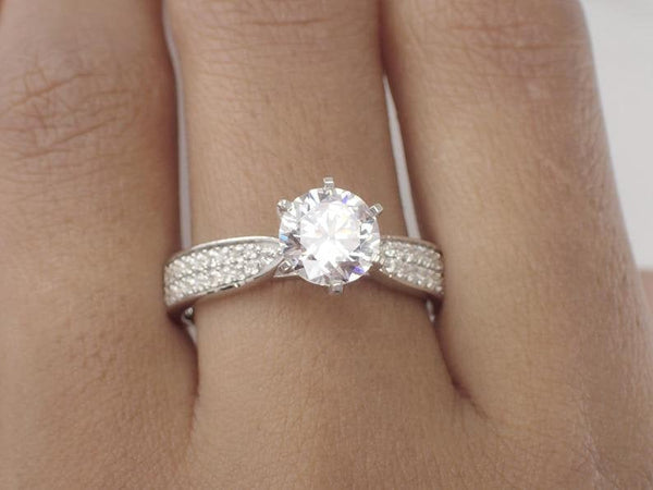 6.5mm Double Channel Forever One Moissanite Engagement Ring, 14k Solid Gold Pave Set VS –E-F Diamond Wedding Band