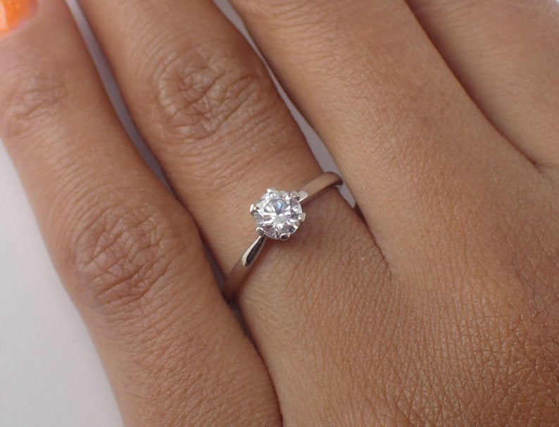 5mm Forever One Moissanite Engagement Ring, 14k Solid Gold Solitaire Wedding Ring, F1 Def High Quality Moissanite Ring