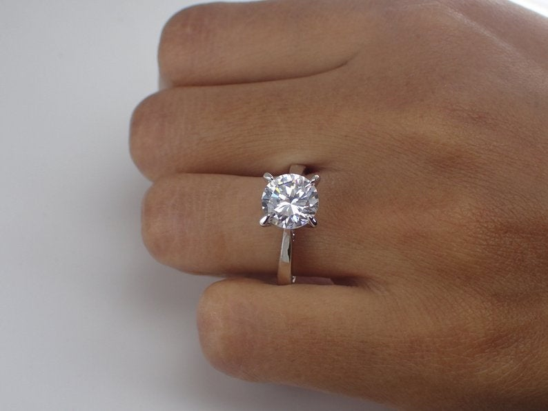 2 Carat Moissanite Engagement Ring Forever One Def Top Quality, 14k So –  QCustom Jewelry