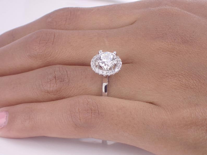 7mm Forever One Moissanite Engagement Ring, 14k Solid Gold VS E-F Diamond Halo Ring, 1.25ct Round Brilliant Cut Anniversary Ring