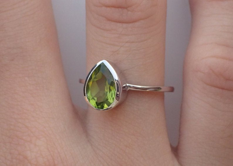 7x5mm Bezel Set Peridot Engagement Ring, 0.75ct Pear Cut Wedding Ring in 14k Solid Gold, Peridot Anniversary Ring