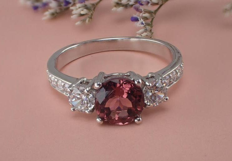 6mm Pink Tourmaline White Sapphire Three Stone Engagement Ring, 14k Solid God VS E-F Diamond Wedding Band