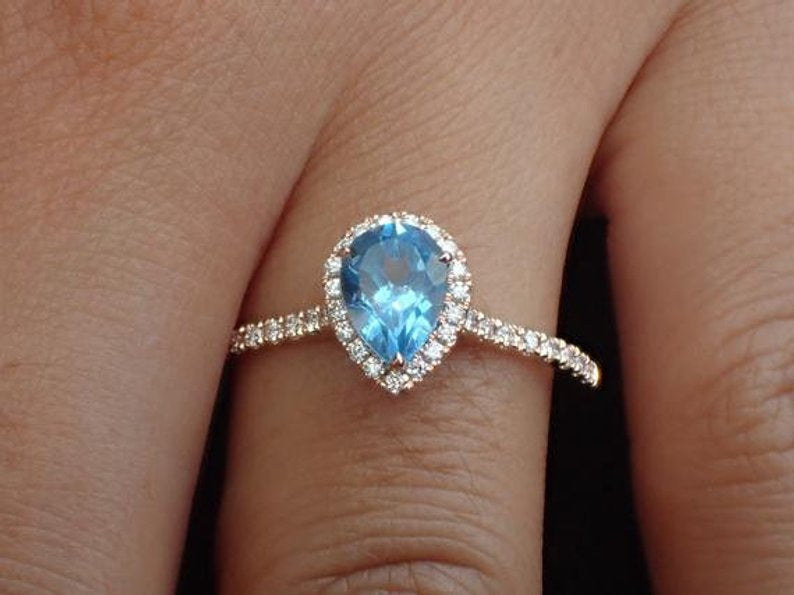7x5mm Pear Cut Blue Topaz Engagement Ring, Diamond Halo Cathedral Set Engagement Ring, 14k Solid Gold Anniversary Ring