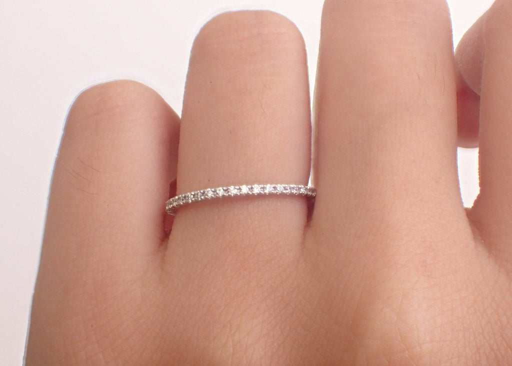 3/4 Eternity Micro Pave Wedding Ring 1.3mm Micro Pave Diamond Wedding Band Thin Dainty Stacking Wedding Band