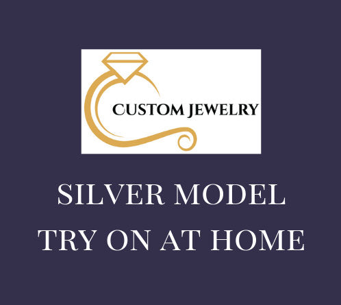 Silver Model Try On at Home Ring with CZ Stones - Wedding Band, Engagement Ring, Semi-Mount Ring, Custom Design Ring