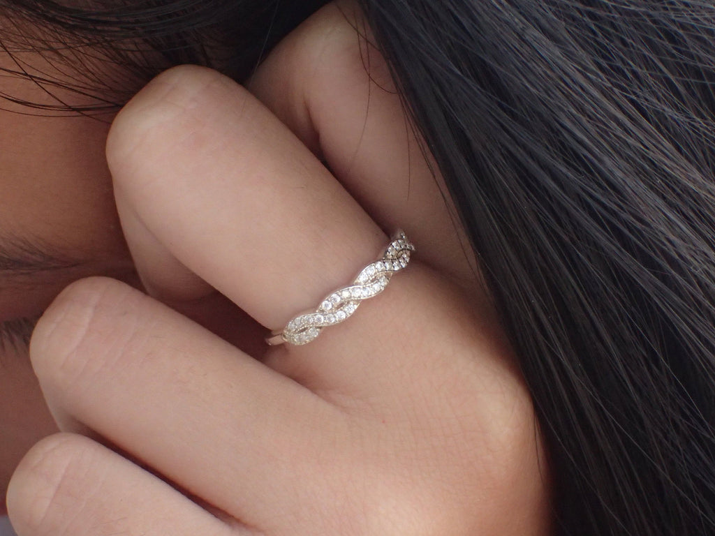 Diamond Infinity Wedding Band, 14k Solid Gold Delicate Infinity Band, Micro Pave Set VS E-F Diamond Anniversary Ring