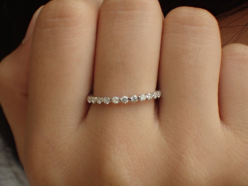 1.8mm Single Prong Band, Platinum Diamond Wedding Band, Half Eternity Band, Prong Set Band, Floating Bubble Band