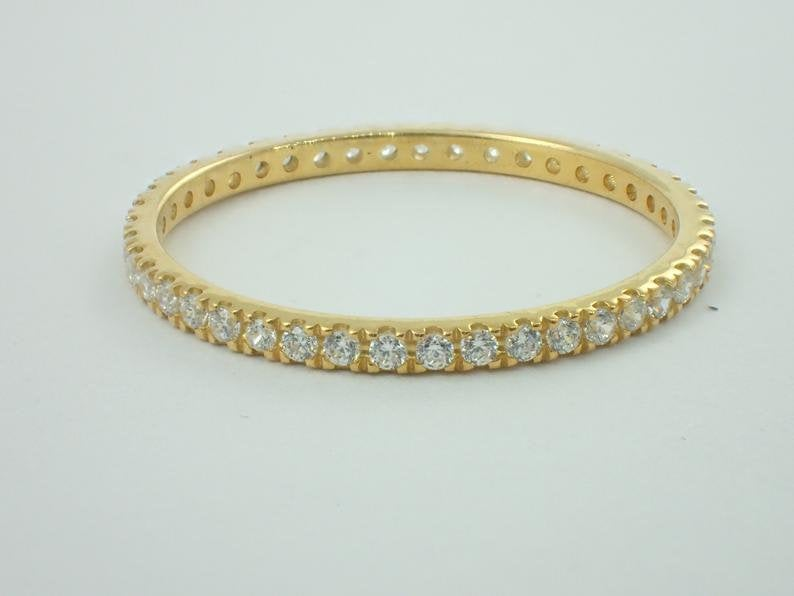 Full Eternity Diamond Wedding Band, 14k Solid Gold Full Eternity Band,  Delicate Stacking Band, High Quality Diamond Band