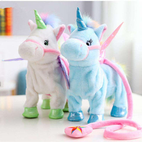 Blue and White Plush Unicorns standing next to each other