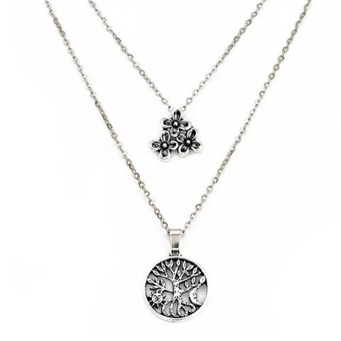 Tree Flower Layer Necklace