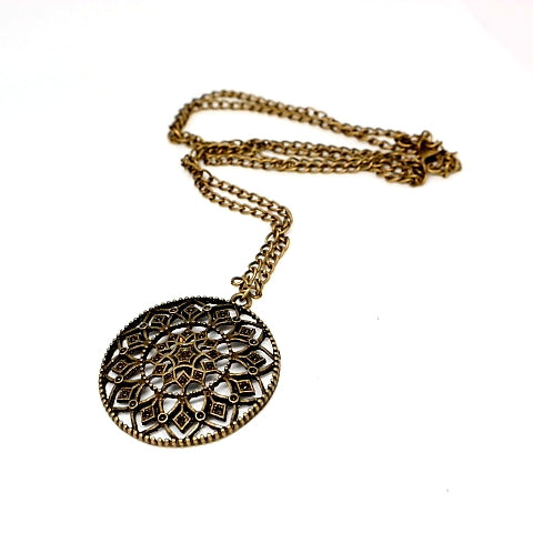 Antique Bronze Dial Necklace
