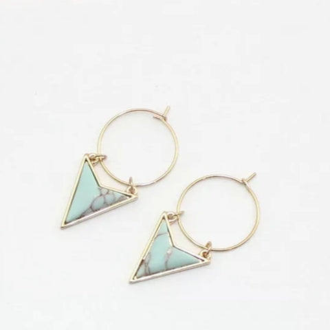 Geometic Marble Green Earrings