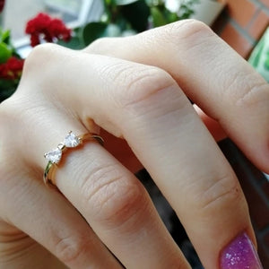 Cubic Zirconia Tiny Bow Ring
