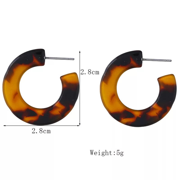 Tortoise Shell Acrylic Earrings