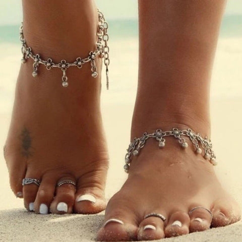 Beaded flower anklet