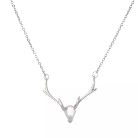 Sterling Silver Rainbow Moonstone Antler Necklace