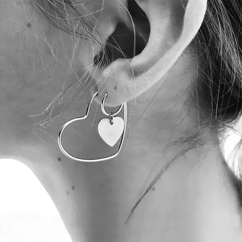 Silver Hopped Heart Earrings