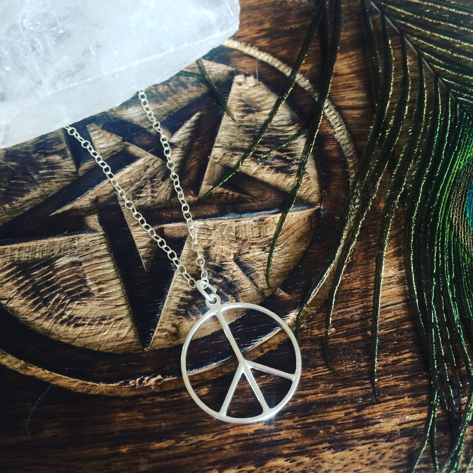 Sterling silver peace sign necklace