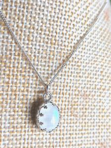 Sterling Silver Rainbow Moonstone Aria Necklace