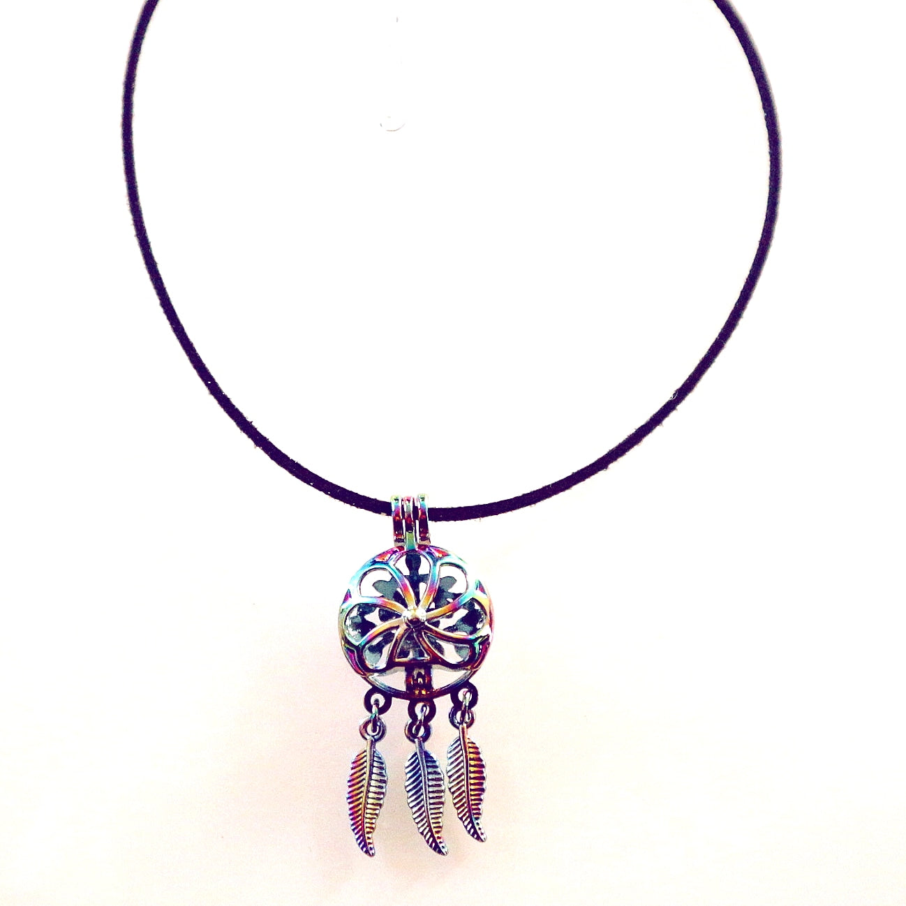 Rainbow DreamCatcher Locket Choker