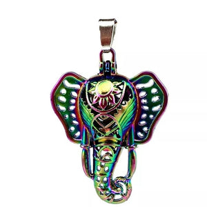 Rainbow Elephant Locket Necklace