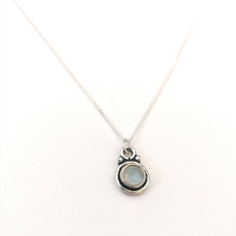 Rainbow Moonstone Penny Necklace