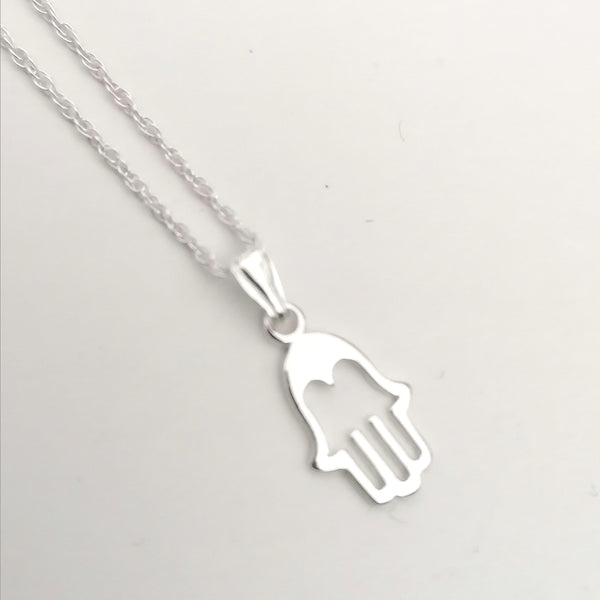 Sterling Silver Hamsa Hand Necklace N