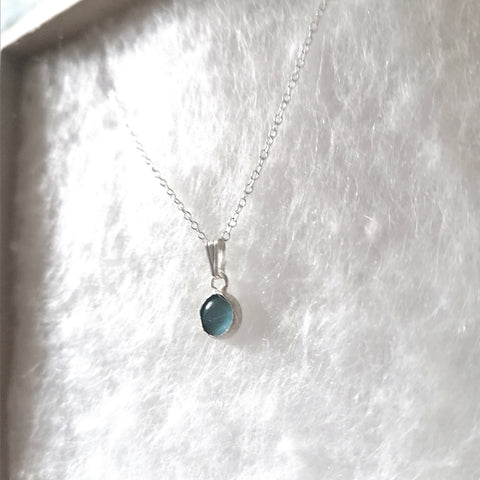 Sterling Silver Blue Cats Eye Necklace