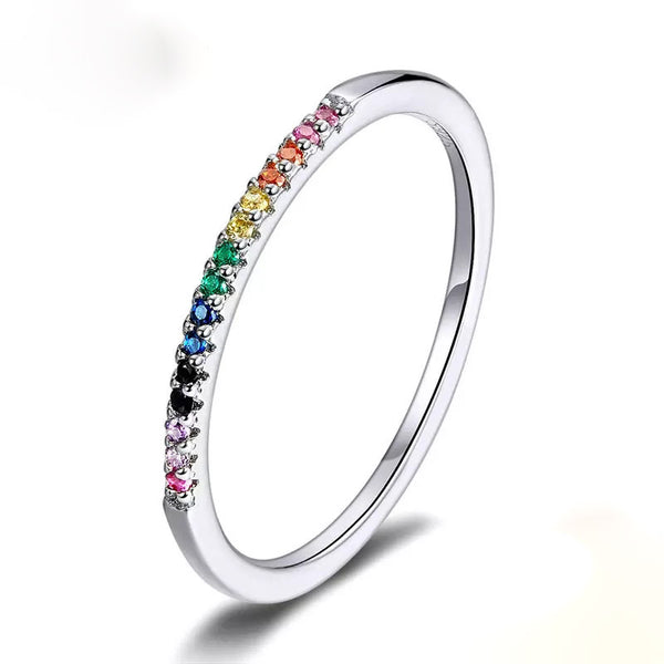 Sterling Silver Rainbow CZ Channel Ring
