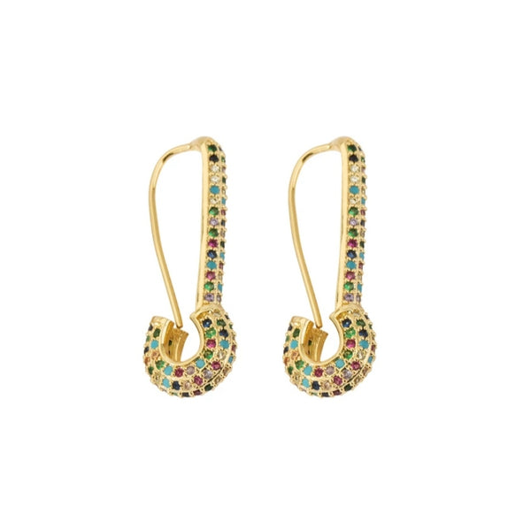 18ct Gold Plated Safety Pin Earrings
