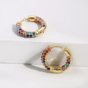 Rainbow CZ Huggie Earrings