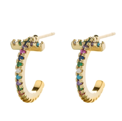 Rainbow CZ T Bar Earrings