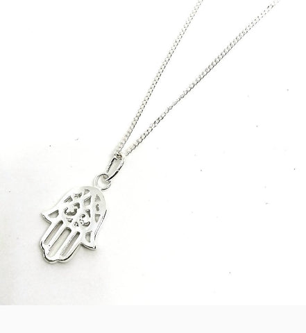Sterling Silver Hamsa Hand Necklace