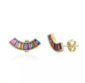 18ct Gold Vermail Rainbow Studs