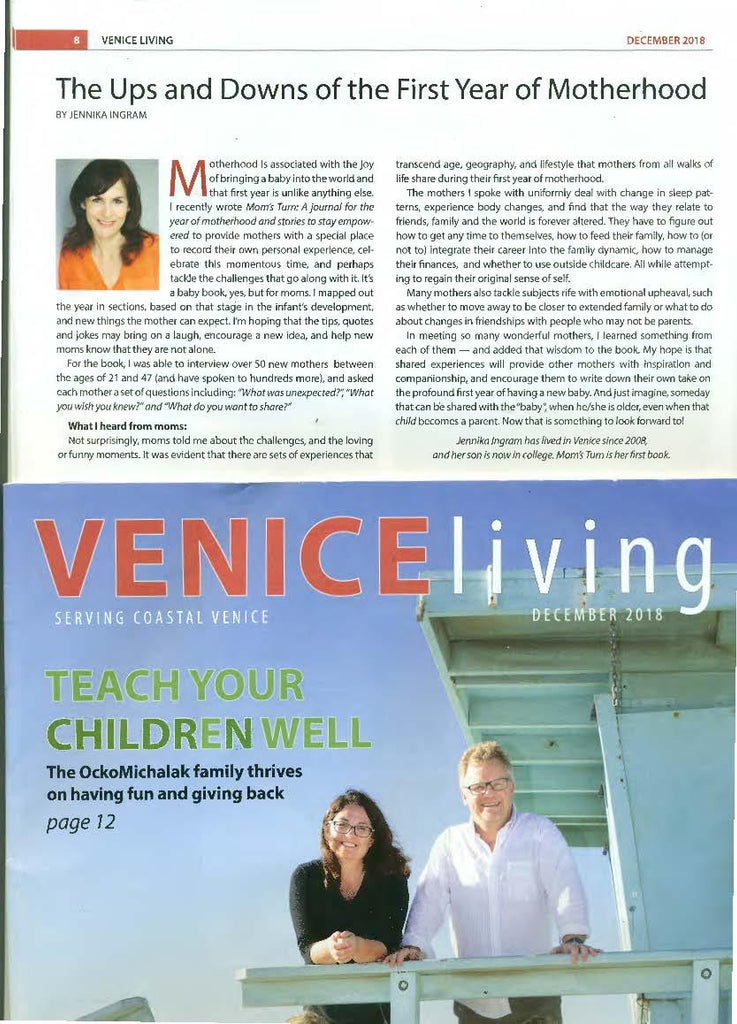 Venice Living Magazine - Mom's Turn article