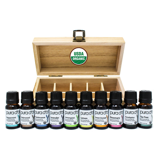 10ml Essential Oil Set  - USDA Organic, 100% Pure, Natural, Therapeutic Grade